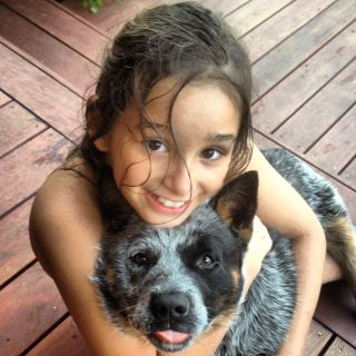 Our beautiful granddaughter Isabella with one of her Sunnyacres cattle dogs.